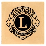 Lions Club Logo on single cream paver