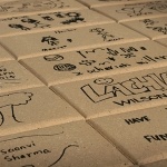 Engraved Hand Drawn Pavers in Path